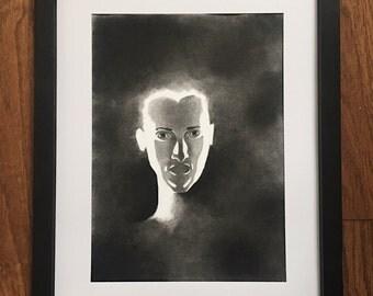 Original Charcoal Drawing - The Traveler