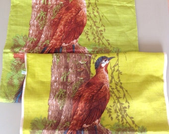 2x retro hand printed lyrebird on linen tea towels new and unused