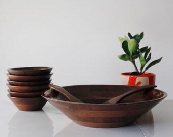 Solid Walnut Nine Piece Salad Bowl Set -- Ozark Walnutware