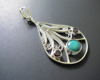 Birds of a Feather Argentium Sterling Silver Filigree Pendant with Garnet and Turquoise gemstones