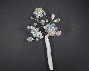 Wedding Boutonniere - Grooms Boutonniere - Crystal Boutonniere - Prom Boutonniere