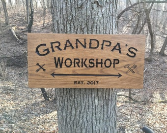 Grandpa's Workshop Custom Wood Sign, Personalized Wood Sign, Carved Wooden Signs, Custom Christmas/Housewarming/Birthday Gift, Workshop Sign