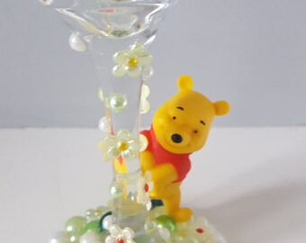 Disney Winnie the Pooh Wine Glass, pooh wine glass, gem wine glass