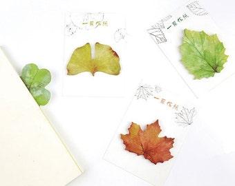 Leafy Sticky Notes,Mini Notepad,Maple Leaf,Ginko Leaf,Four Leaf Clover,Green Leaf,Notepad,Minimalist
