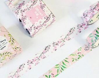 Pink Cherry Blossom Japanese Washi Tape,Masking Tape, Decorative Tape, Planner Sticker, Journal Sticker