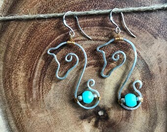 Horse Head Earrings with Peruvian Opals
