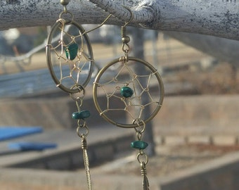Dream Catcher Necklace and Earring set Malachite