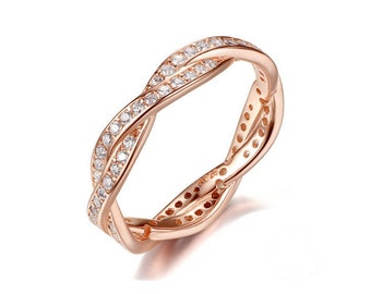 Rose gold sterling silver twist ring, white crystal ring, rose gold stack ring, rose gold eternity band, man Made Diamond Stimulants