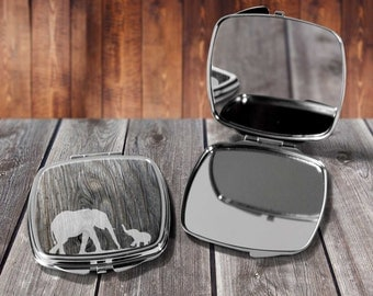 Elephant with Baby Compact mirror, Make up mirror, Pocket mirror, Hand Mirror, Purse Mirror, Birthday gift, Gift for her