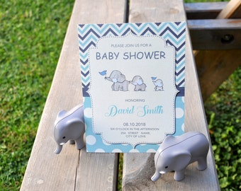 Elephant Baby-Boy Shower Invitation