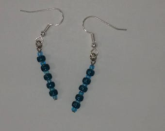 Custom hand made earrings peacock blue clear glass beads