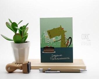 Festive Mons dragon birthday card