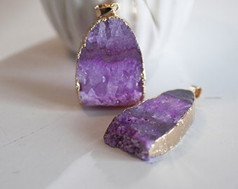 Agate gemstone pendant support Golden purple-Fuchsia