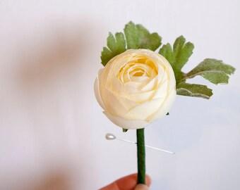 Cream Ivory Boutonniere Buttonhole Lapel Pin, Groom, Groomsmen, Silk Flower Men's Wedding Accessories, Ranunculus Bud Boutonniere, Bout