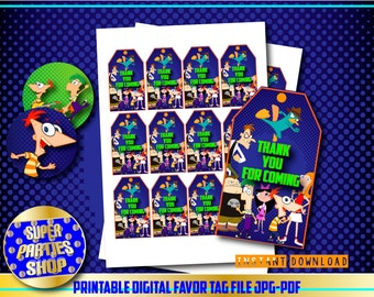 Phineas and Ferb Digital  Printable Favor Tags, Custom Party,Phineas and Ferb,Birthday,Party, Supply, Kit, Pack, Custom