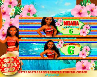 Water Bottle Labels  Printable Moana Party, Digital Design , Stick for Bottle, Moana Birthday, Princess Moana , Digital , Design Custom