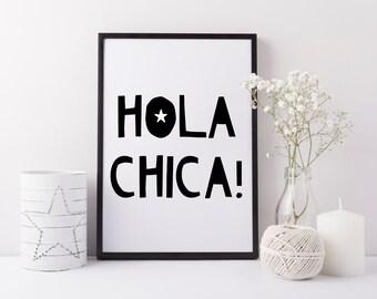 Hola Chica art print - Girls bedroom art - Cute girls print - Girls nursery print - Girls playroom print - Gift for girls - Spanish art