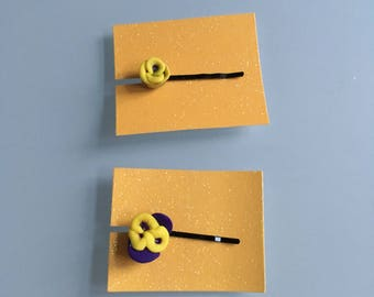hair clip - purple and yellow flower - cute - pansy - hair accessories - unique - bobby pin