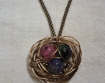Handmade Multi-Colored Birds Nest Necklace