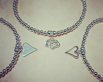 Sterling Silver beaded Heart charm Stacking Bracelet