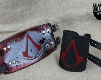 Leather Assassins Creed bracelet, handmade