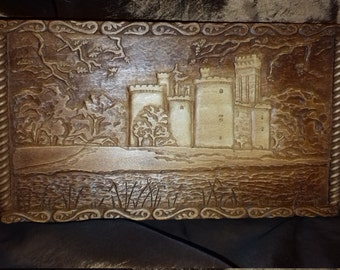"Woodcarved picture ""Chateau de Montbrun"" wall decoration"