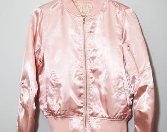 Vintage 1990's Pastel Pink Quilted Silk Nylon Bomber Jacket | Size Small
