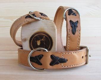 Natural Dog Collar - Burgundy Leather - Handmade Dog Collars - Colored Collars - Made in Italy Dog Collars - Solid Brass Hardware