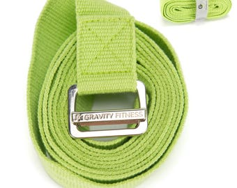 Gravity Fitness Yoga Strap, Friction-less Easy-Feed Buckle, Super Soft Cotton/Polyester Blend Webbing, Free eGuide