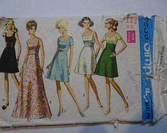 Vintage Simplicity 8539 Dress Pattern Size 12 Bust 34
