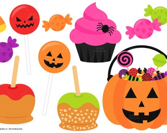 Candy Corn, Caramel Apples, Halloween Candy - Cute Clipart, Clip Art - Commercial Use, Instant Download