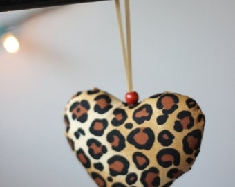 Funky leopard print fabric heart, something a little different for valentines, FREE personalised wooden tag