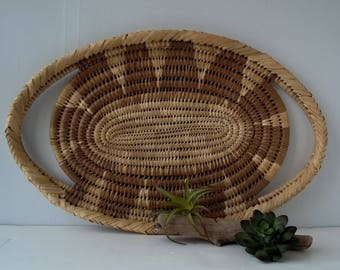 Vintage Woven Wicker Tray Basket with Handles/ Platter/ Coiled/ Rattan