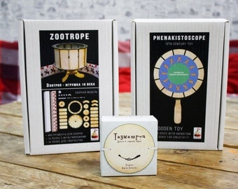 Zoetrope + Phenakistoscope + Thaumatrope (3 animation toys)