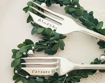 Always...Forever - Handstamped Vintage Cakeforks