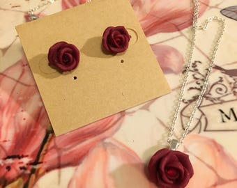 Mother's Day Rose Necklace and Rosebud Stud Earrings Set, Hand Made, Gift for Mom, Roses, Dark Red Roses with Rhinestone Centers