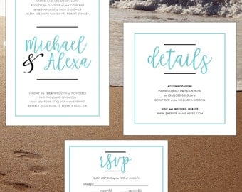 Simple Modern Wedding Invitation Suite with Turquoise Blue Accent