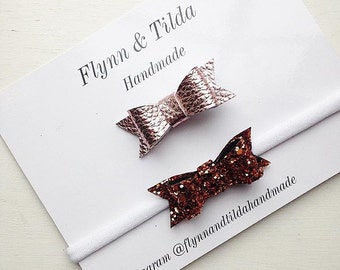 Rose gold faux leather baby bow or copper glitter baby bow on baby headband or crocodile clip