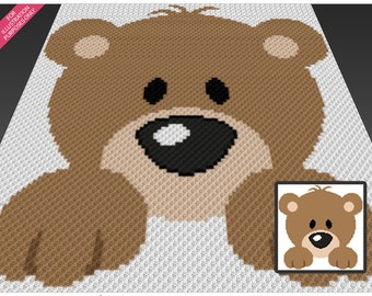 Bear Cub crochet blanket pattern; c2c, cross stitch; knitting; graph; pdf download; no written counts or row-by-row instructions