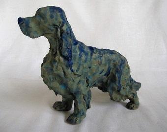 English Setter/English Setter ceramic with blue glaze