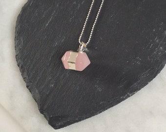 Rose Quartz Crystal Hex Necklace