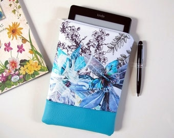 Kindle cover in fabric with floral design with butterfly and turquoise faux leather case Kindle, Kindle case, single piece