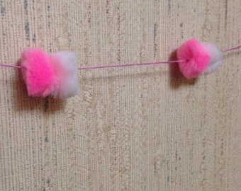 Pink & White Puffball Wall Decoration