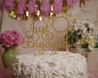 Just Engaged Glitter Cake Topper, Engagement Party Glitter Cake Topper, Engagement Party Decoration
