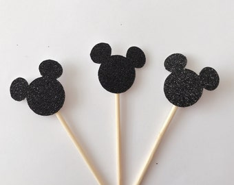 12 Glittery Mickey Cupcake Toppers-Baby Shower Cake Topper-Handmade Cake Topper-Cupcke