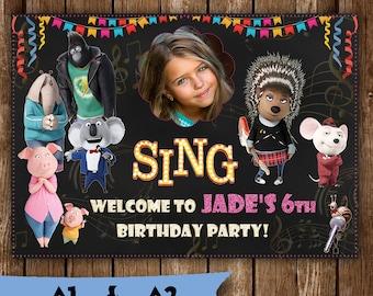 Birthday Poster - Sing movie poster birthday party poster printable invitation banner birthday chalkboard poster Sing movie party decoration