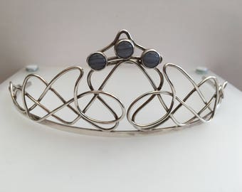 Sterling Silver tiara with lace agate