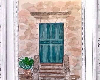 Door painting, Original watercolor painting, House painting, Europe painting, rustic Teal door, Stone building art,  architectural landscape