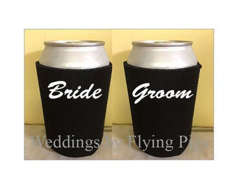 Bride  and Groom Can Holders, Wedding, Bride, Wedding Can Holders, Groom, Bachelorette party, Bachelor party, Rehearsal, Wedding Rehearsal