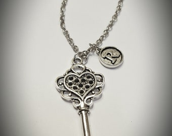 Key pendant necklace with initial